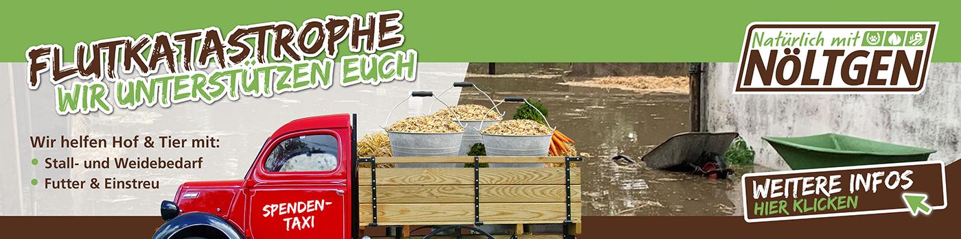 Flutkatastrophe - wir bieten und sammeln Spenden für die betroffenen Höfe und Tierhalter.