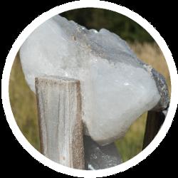 Ein Salzleckstein mit wertvollen Mineralien für Schafe und Ziegen