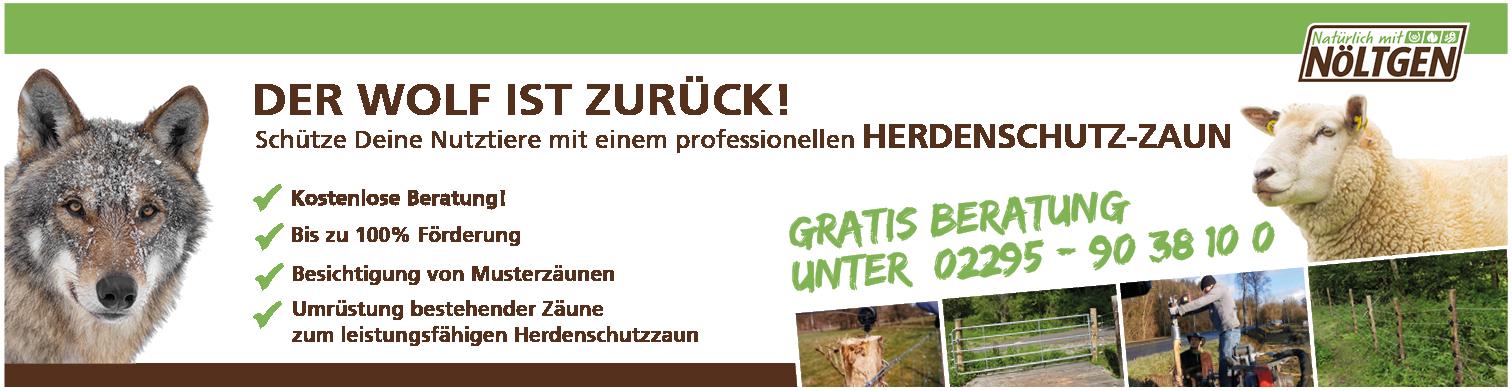 Ein Banner für Herdenschutz-Zäune mit einem Wolf und einem Schaaf